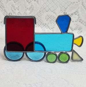 Vintage Stained Glass Art Train Suncatcher